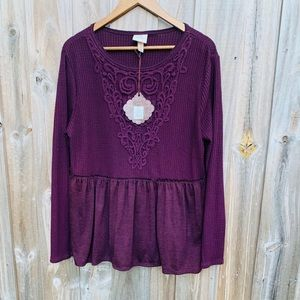Burgundy Long Sleeve Embroidered Baby Doll Top
